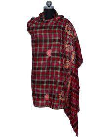 Check Embroidered designer shawl Multi