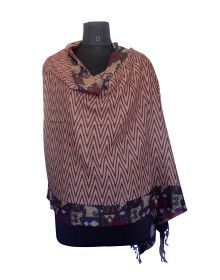 Purewool Full Printed Stole Brown