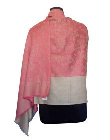 Woolblend Printed Stole Pink Cream