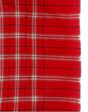 Semi Pashmina Stole Red Color fine check