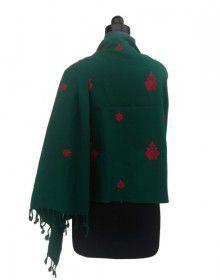 Woolblend Plain Embroidery Designer Stole