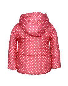 Girls Hooded Dotted Jacket Peach