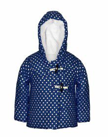 Girls Hooded Dotted Jacket Navy