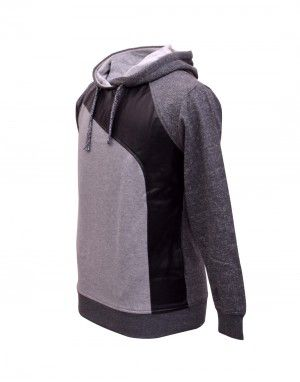 Men Sweatshirt with PU leather Grey
