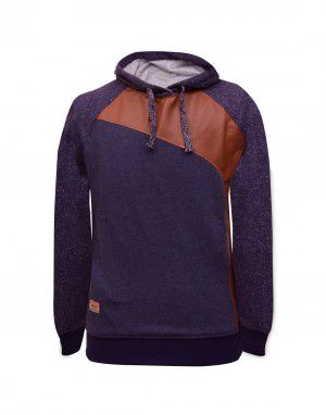 Men Sweatshirt with PU leather Navy