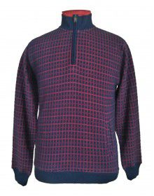 Men sweartshirt check design with zipper