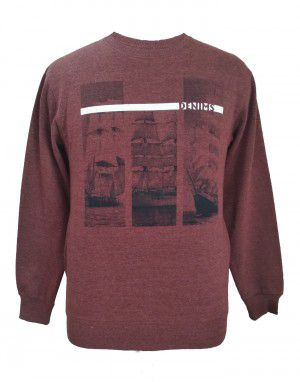 Mens sweartshirt  front Printed round neck Rust