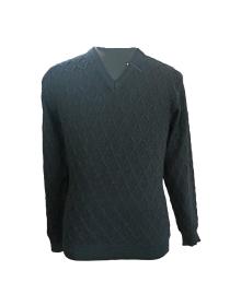 Mens Pure wool Sweater self design FS black