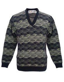 Mens Pure Wool Sweater FS Grey