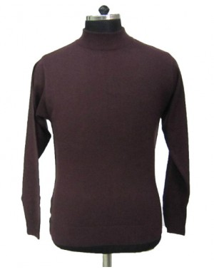 Mens T Neck Basic Sweater Coffee
