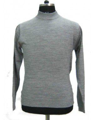 Mens T Neck Basic Sweater Grey