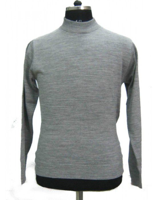 Mens T Neck Basic Sweater Grey