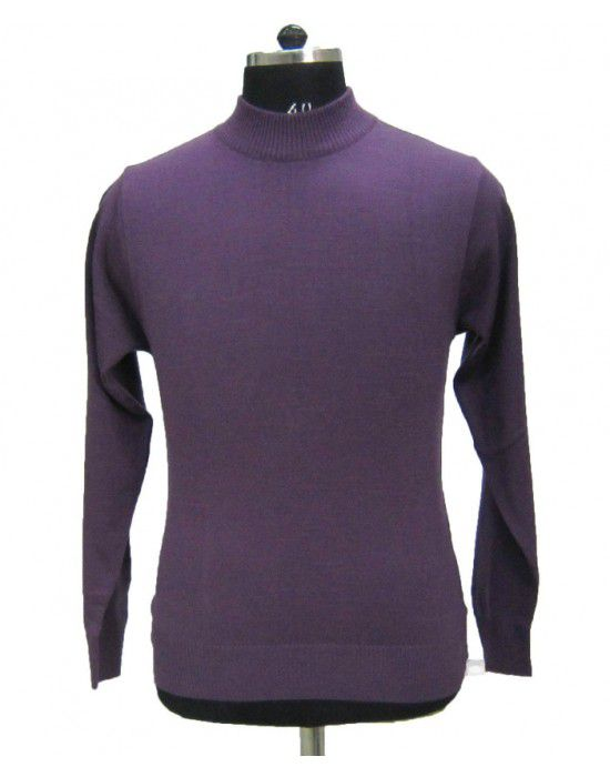 Mens T Neck Basic Sweater Purple