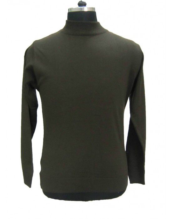 Mens T Neck Basic Sweater Olive