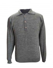 Pure wool Plain Light Weight  Sweater with collar dark grey