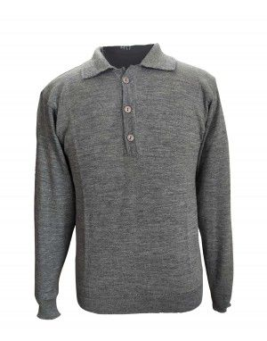 Pure wool Plain Light Weight  Sweater with collar dark grey