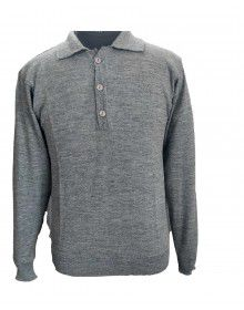 Pure wool Plain Light Weight  Sweater with collar Light grey colur