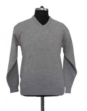 Mens Pure Wool Sweater FS Light Grey