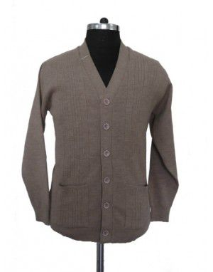 Mens Pure wool Sweater FS Front Buttons brown