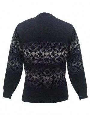 Men Purewool Sweater Small Diamond Design Navy