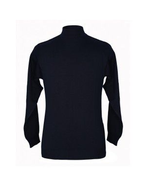 Pure wool Plain Heavy Sweater T Neck Black