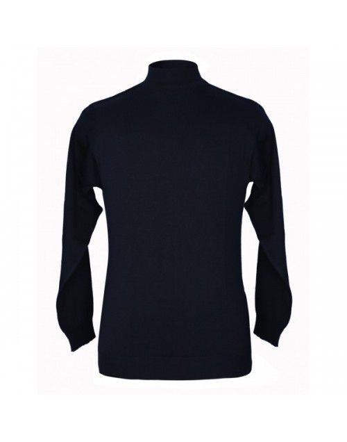 Pure wool Plain Heavy Sweater T Neck Navy