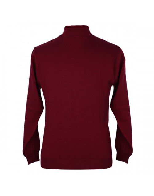 Pure wool Plain heavy  Sweater T Neck Red