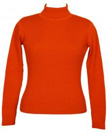 Girls Sweater High Neck Orange