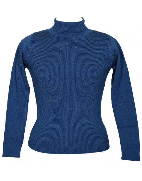 Girls Sweater High Neck Blue