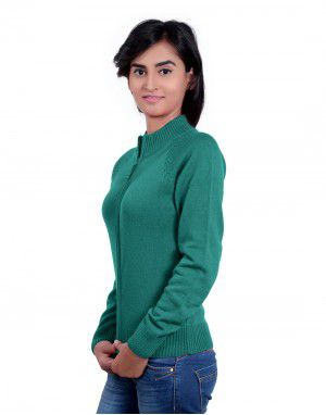 Girls Sweater Plain Green  Colour
