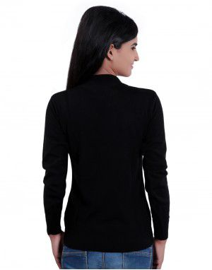 Girls Sweater Plain Black Colour