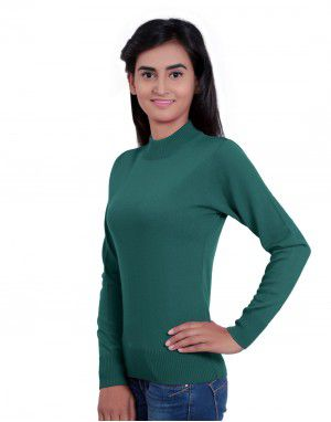Womens T Neck Basic Sweater Green