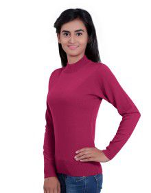 Womens T Neck Basic Sweater Cherry Red