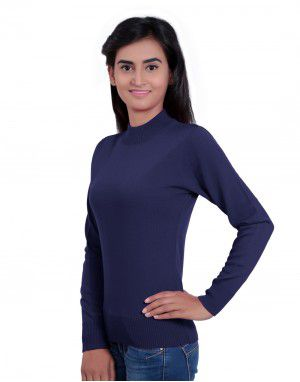 Womens T Neck Basic Sweater Mob