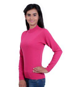 Womens T Neck Basic Sweater Pink