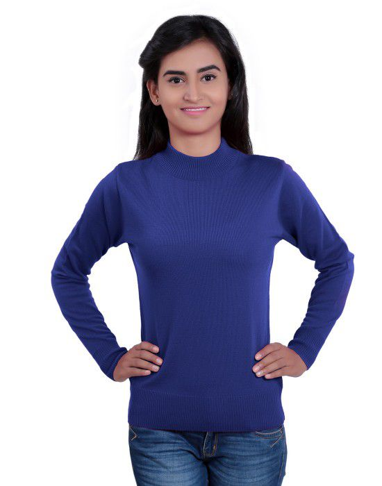 Womens T Neck Basic Sweater Royal