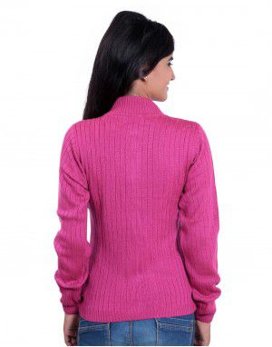 Girls Sweater Long Stripes Pink Colour