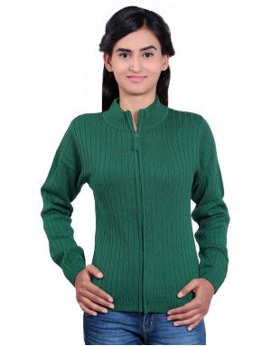 Girls Sweater Long Stripes Green Colour