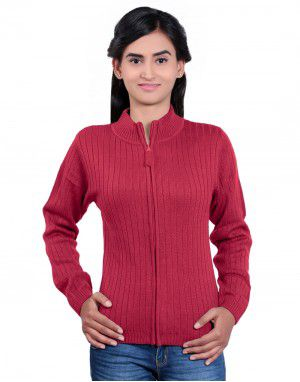 Girls Sweater Long Stripes Red Colour