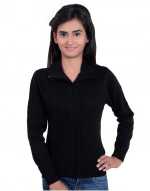 Girls Sweater Plain Black