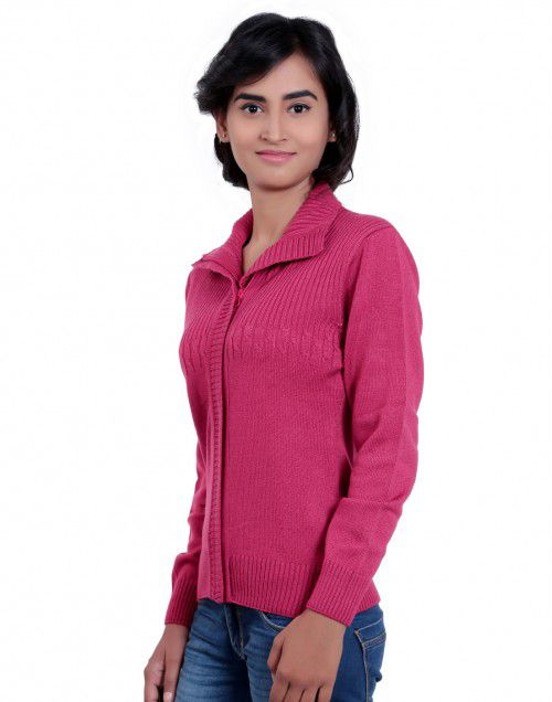 Girls Sweater Front Design Pink colour