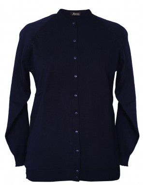 Womens Pure wool  Light weight Sweater Full Button Navy