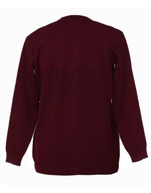 Womens Pure wool heavy Sweater Full Button Maroon