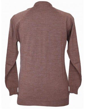 Womens Pure wool Sweater Full Button Camel