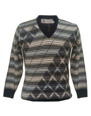 Shop Men Woolblend Sweater Stripes And Diamond Design Black At