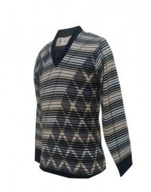Men Woolblend Sweater Stripes And Diamond Design Black