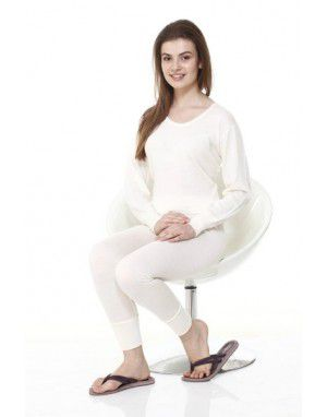 Women Merino Wool Thermals FS Blouse Set Cream