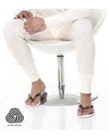 Pure Wool Mens Long John Plus Size Cream