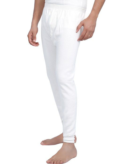 Men Cotton Long John White
