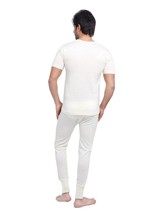 Mens HS Merino Wool Thermals Set Cream
